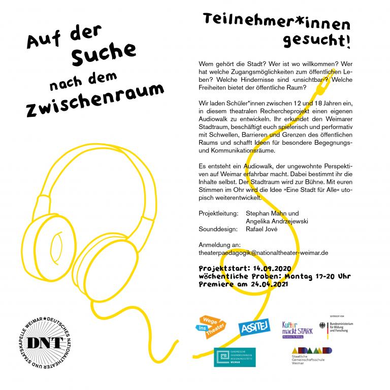 """Flyer """"Auf der Suche nach dem Zwischenraum - En Audiowalk-Projekt"""""""